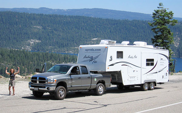 fulltime RVer by fifth wheel trailer on Carson Pass