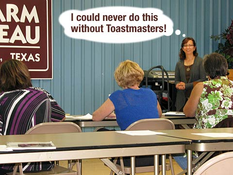 Rene speaks with confidence at Toastmasters meeting