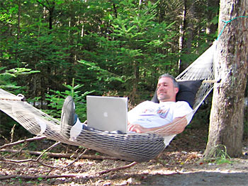 Working from hammock at Moosehead Lake