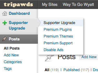 Pro Sites Blog Upgrade Dashboard Menu